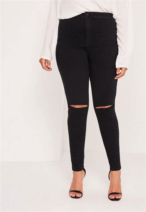 plus size stretch high waisted ripped black missguided