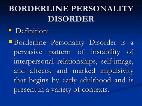 pervasive pattern meaning borderline personality disorder
