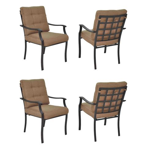 Garden Treasures Patio Chairs Shop Garden Treasures Set Of 4 Eastmoreland Textured Brown Steel Stackable Patio Dining Chair At