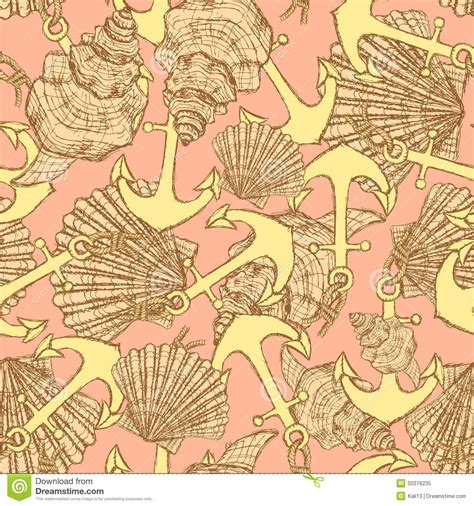 vintage pattern sketch sketch anchor and shells in vintage style stock vector