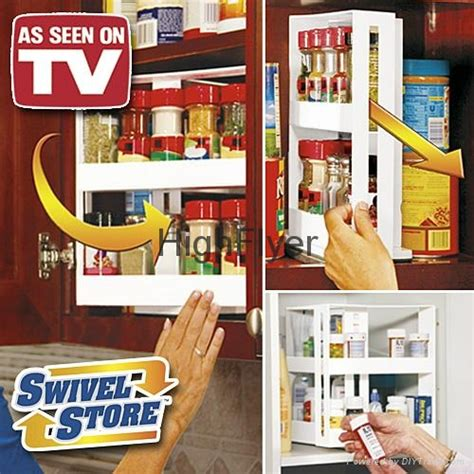Kitchen Cabinet Spice Rack Slide by Swivel Store Space Saving Cabinet Organizer As Seen On Tv
