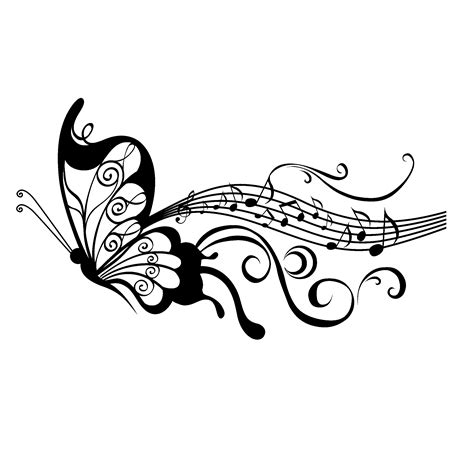 music staff images sticker papillon partition tattoo