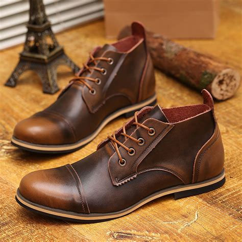 us 6 10 fashion real leather lace up cap toe mens oxford