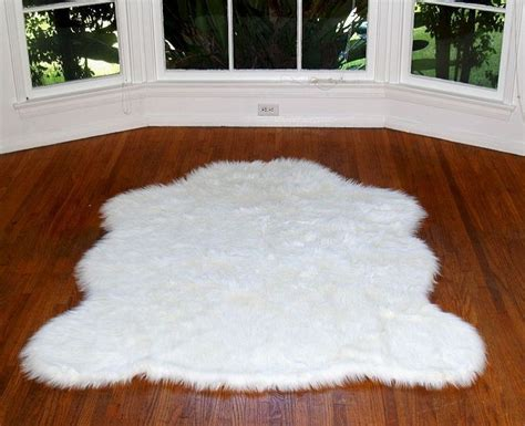 faux sheepskin rug white small
