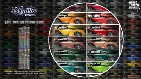gta 5 crew colors lsc vehicle colours index gta5 mods