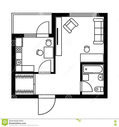 design a house plan floor plan of a house with furniture vector stock vector