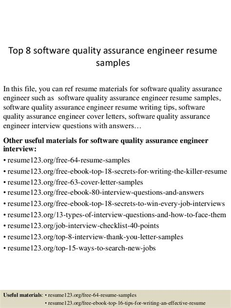 Quality Engineering Resume Sles Top 8 Software Quality Assurance Engineer Resume Sles