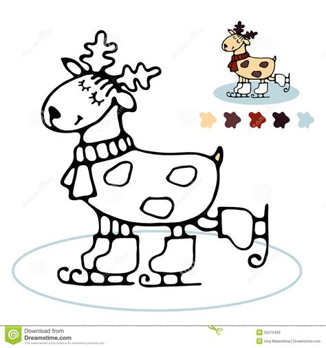 coloring book exles cheerful reindeer skating coloring for stock vector