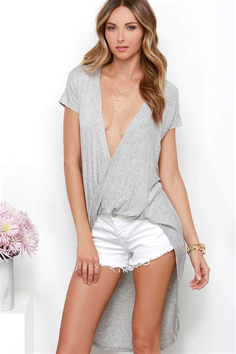 Top A Grey chic grey top high low top sleeve top 34 00