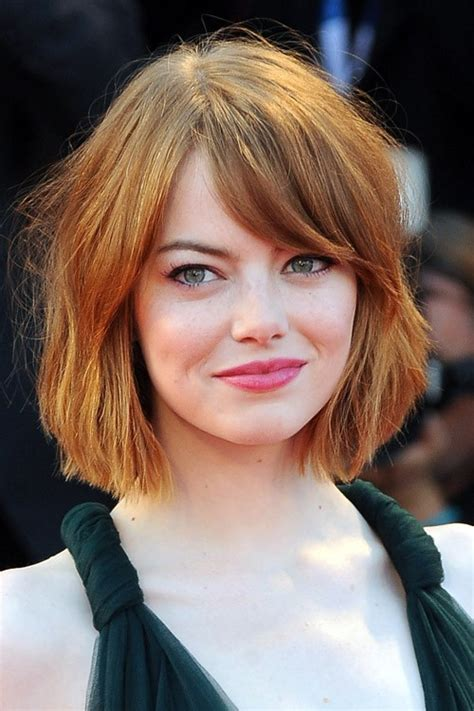 Emma Stone Straight Bob, Sideswept Bangs Hairstyle   Steal