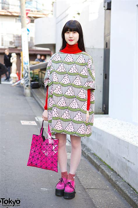 Take A Peek At Japan Fashion Week by I Am I Watermelon Dress Issey Miyake Bao Bao Bag In Harajuku