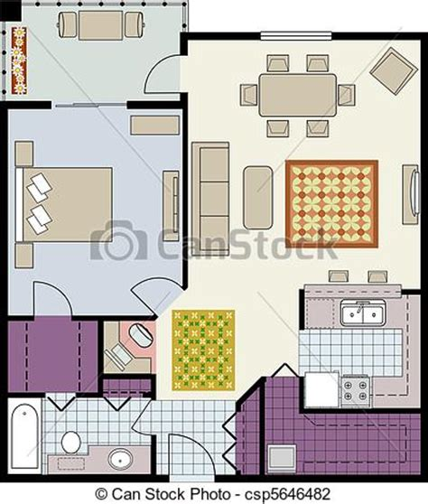 furniture clipart for floor plans vector illustration of floor plan of one bedroom condo