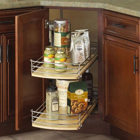 knape vogt wood lazy susan with pull out