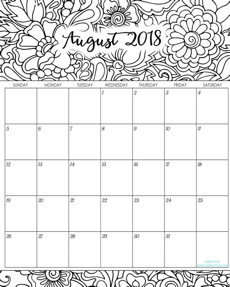 printable calendar 2018 to color 2018 monthly coloring calendars printables sarah titus