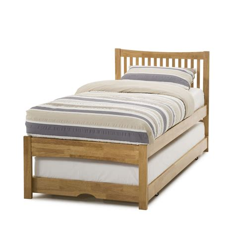 bed image mya hevea guest bed honey oak with mattress and bedding
