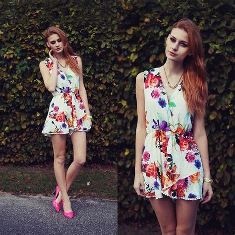 Jumpsuit Mini Import Chiffon Inner Silk White Flower Murah Ariadna Majewska Chic Wish Black Playsuit Sheinside