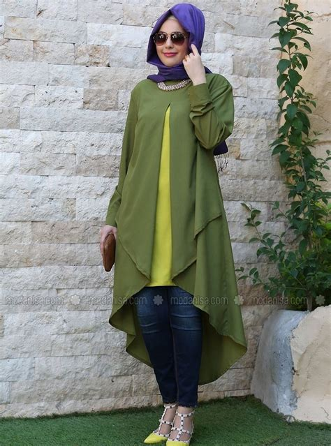 Vinta Tunik By Cf Fashion tunic green nesrin emniyetli giyim