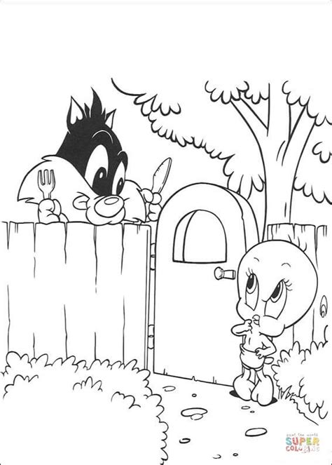 sylvester and tweety coloring page free printable