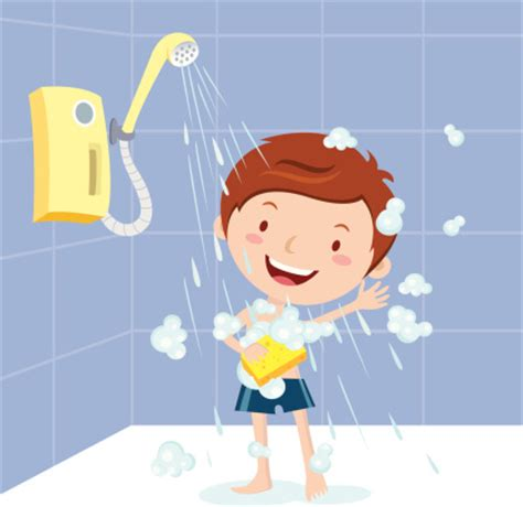 Taking A Cold Shower by Boy Shower Vector Art Thinkstock