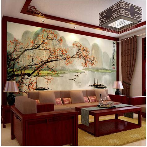 Chinese Wall Murals aliexpress com buy 3d photo wallpaper chinese landscape