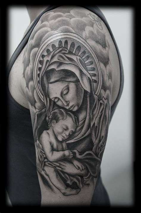 virgin mary with baby grey ink sleeve tattoo