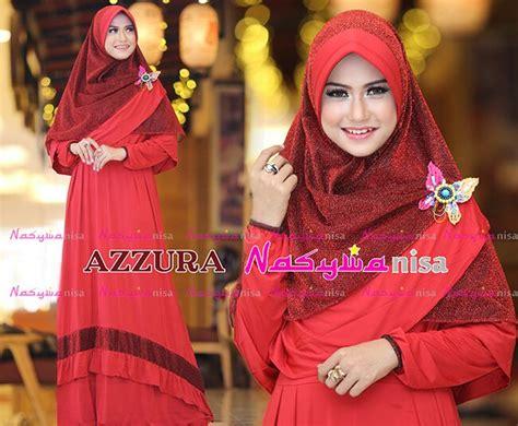 Syari Azzura azzura merah kepinkan baju muslim gamis modern