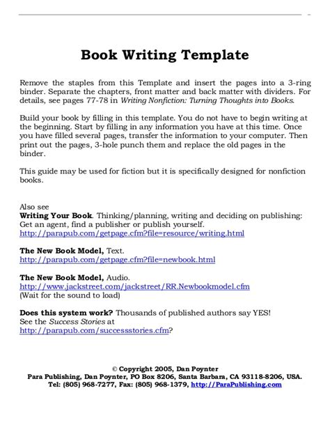 Template For Writing A Book book writing layout template
