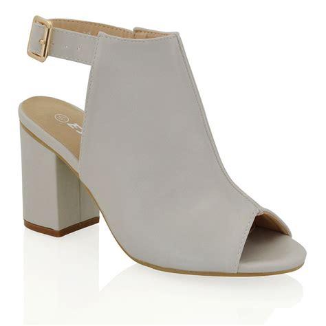 new womens mid block heel peep toe open back back