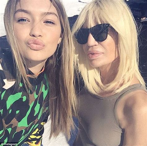 gigi hadid on instagram donatella versace makes her instagram debut with gigi