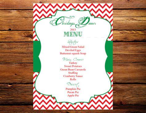 printable christmas menu cards items similar to printable 5x7 christmas dinner menu card