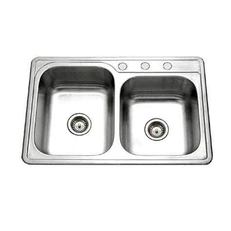 Frankeusa Top Mount Stainless Steel 33x22x6 3 Hole Double Home Depot Kitchen Sinks Stainless Steel