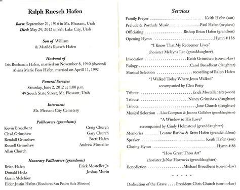 Mt Pleasant Pioneer Ralph Ruesch Hafen Funeral Service Outline Template