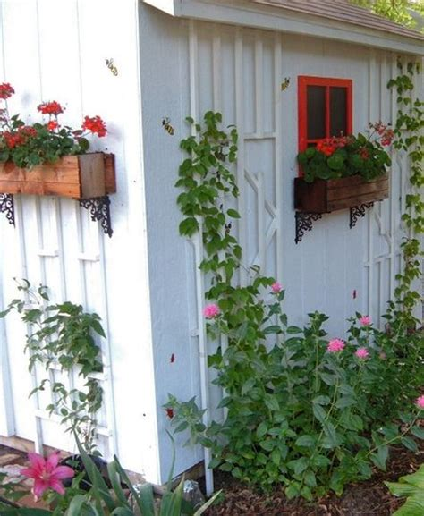 shed window boxes garden shed with trellis window boxes and faux window