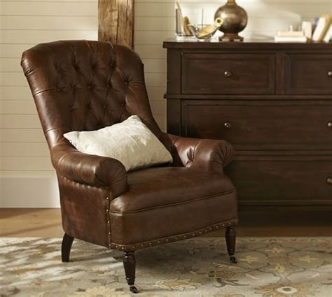 tufted leather armchair radcliffe tufted leather armchair pottery barn