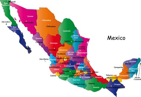 the map of mexico states mexico capital map
