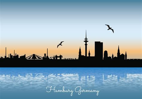 hamburg skyline illustration   vector art