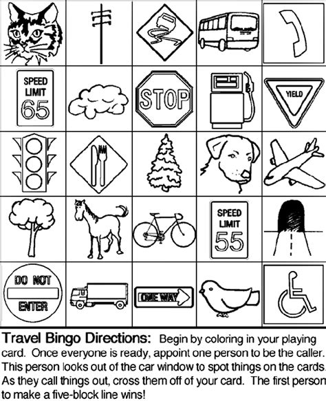 travel bingo board 1 crayola co uk