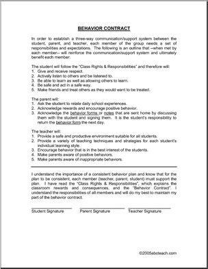 Behavior Contract Abcteach Behavior Contract Template Elementary