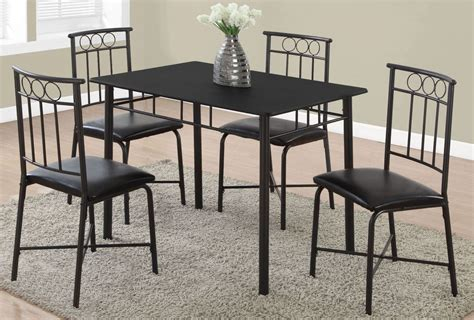 black dining room set black metal 5 dining room set 1018 monarch