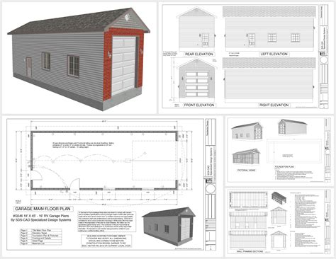 plans for garage g546 18 x 45 x 16 rv garage sds plans