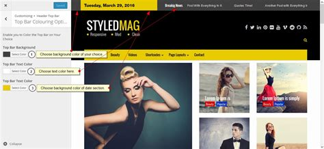 top bar section styledmag pro theme documentation