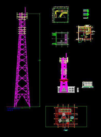 telecommunications  supported tower dwg block
