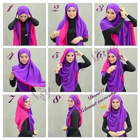 tutorial jilbab syar i dua warna cara berhijab modern segi empat yang sangat praktis