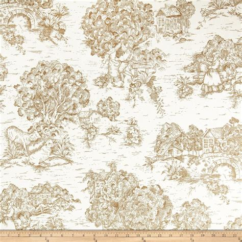 toile upholstery fabric pastoral toile ivory brown discount designer fabric