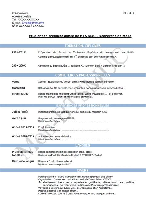 Exemple De Cv Pour étudiant by Mod 232 Le Curriculum Vitae Num 233 Ro 1