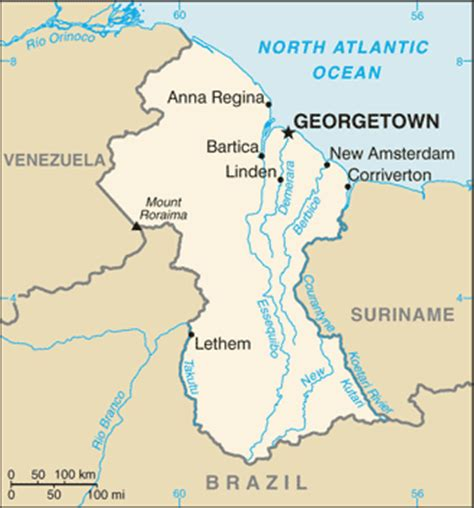 map of guyana south america guyana