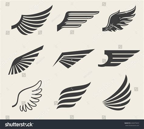 wings vector icons set wing set stock vector 404075653