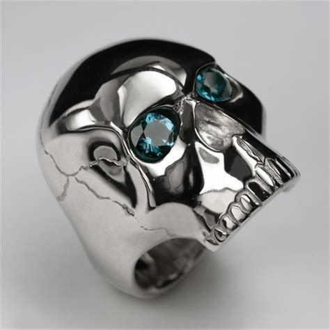 skull ring in sterling silver blue topaz mens and