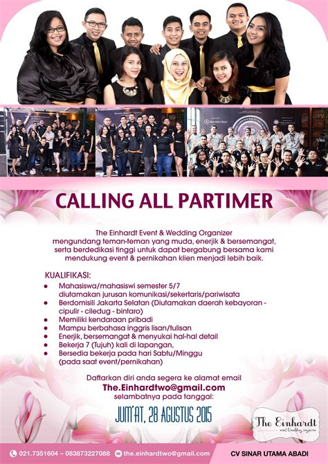 Freelance Wedding Organizer Di Jakarta part time event organizer studentjob indonesia