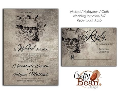 printable halloween wedding invitations wicked halloween horror gothic wedding invitation